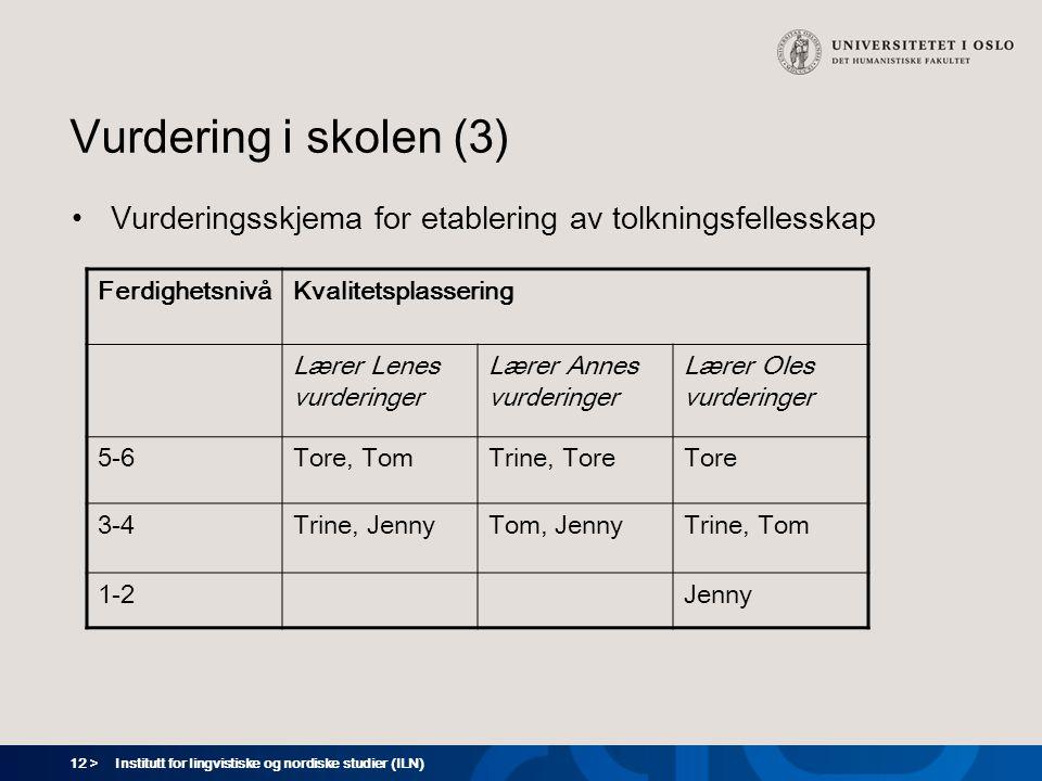 12 > Institutt for lingvistiske og nordiske studier (ILN) Vurdering i skolen (3) Vurderingsskjema for etablering av tolkningsfellesskap Ferdighetsnivå