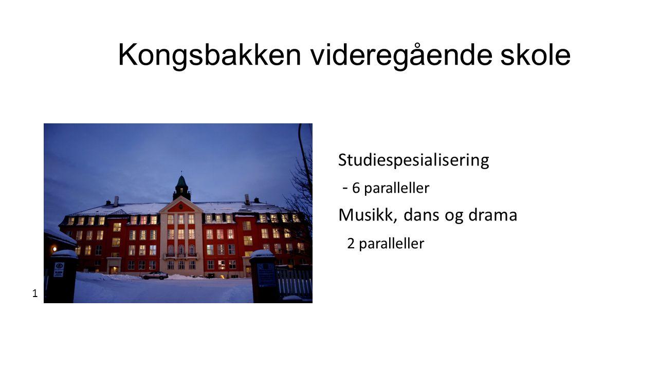 Kongsbakken videregående skole Studiespesialisering - 6 paralleller Musikk, dans og drama 2 paralleller 1