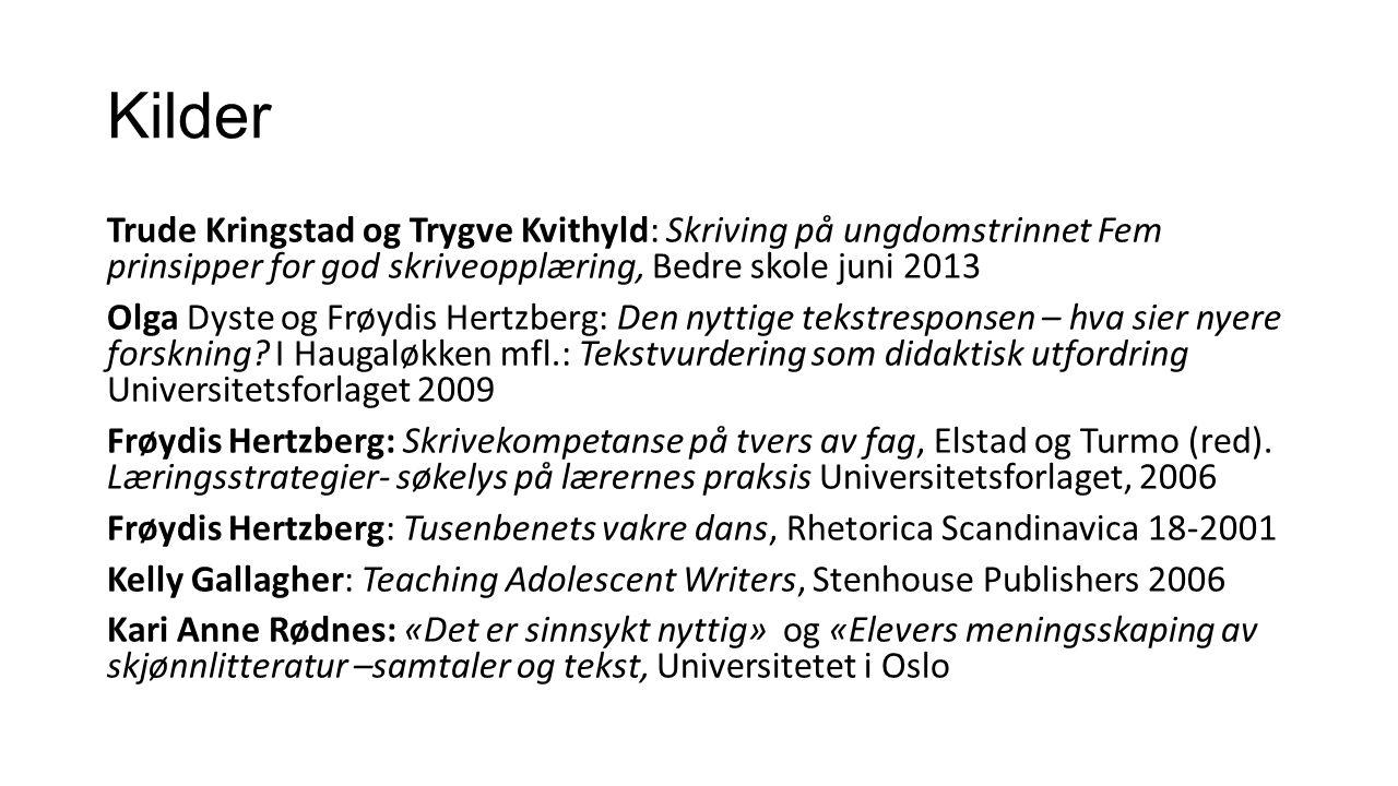Kilder Trude Kringstad og Trygve Kvithyld: Skriving på ungdomstrinnet Fem prinsipper for god skriveopplæring, Bedre skole juni 2013 Olga Dyste og Frøydis Hertzberg: Den nyttige tekstresponsen – hva sier nyere forskning.