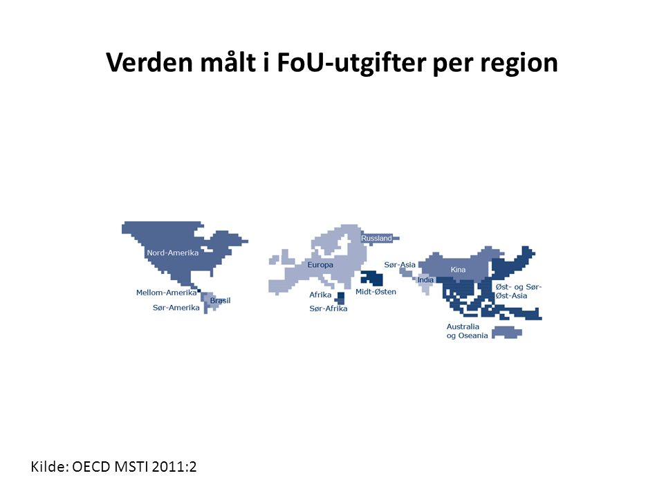 Gjennomsnittlig årlig vekst i FoU-utgifter for utvalgte land 10,2 18,4