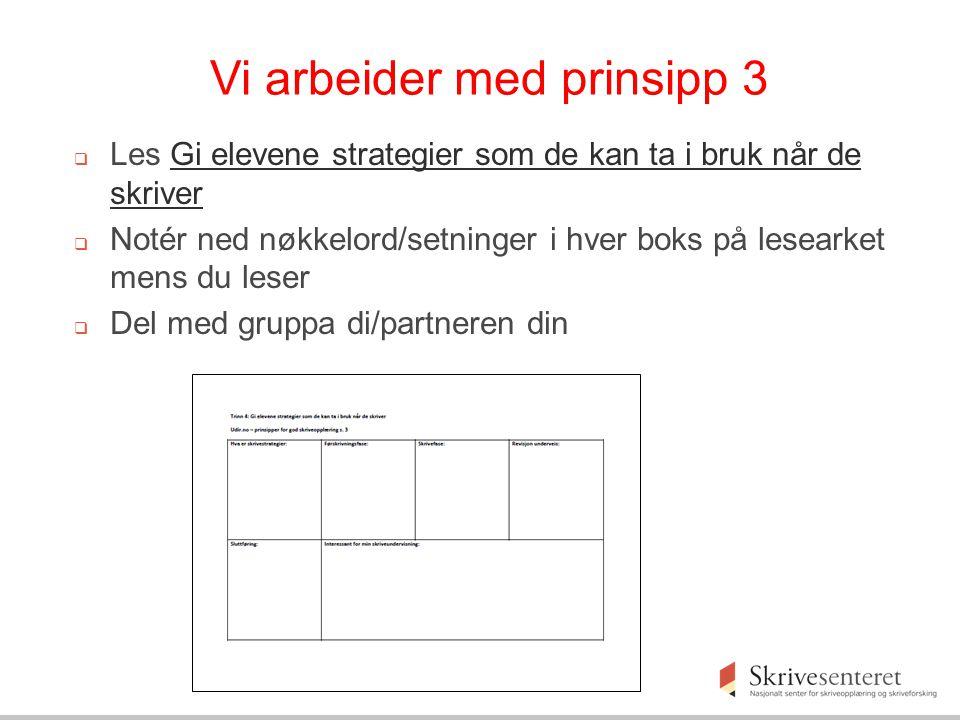 Vi arbeider med prinsipp 3  Les Gi elevene strategier som de kan ta i bruk når de skriverGi elevene strategier som de kan ta i bruk når de skriver 