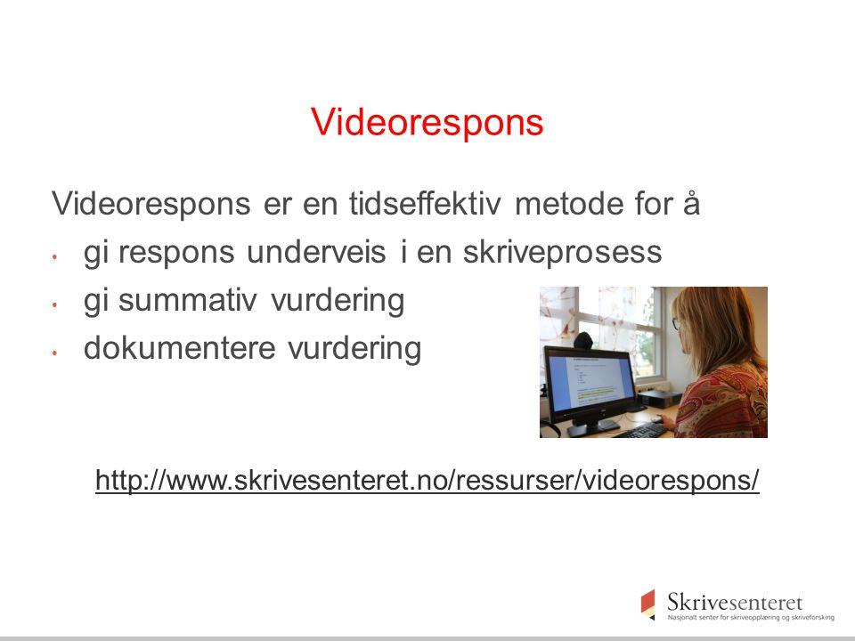 Videorespons Videorespons er en tidseffektiv metode for å gi respons underveis i en skriveprosess gi summativ vurdering dokumentere vurdering http://www.skrivesenteret.no/ressurser/videorespons/