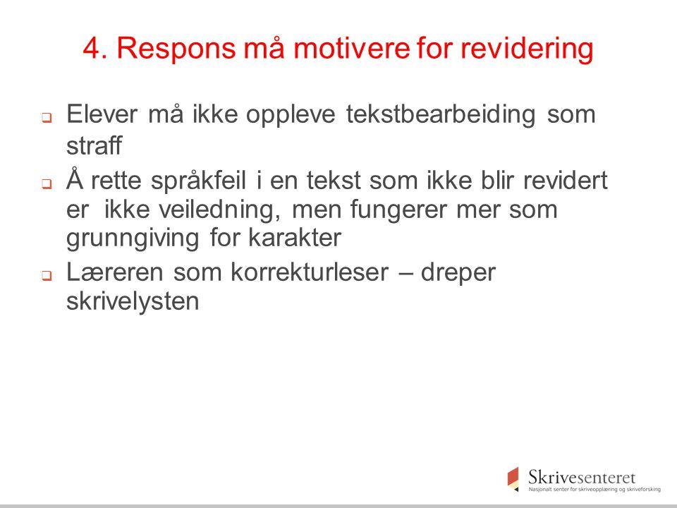 4. Respons må motivere for revidering  Elever må ikke oppleve tekstbearbeiding som straff  Å rette språkfeil i en tekst som ikke blir revidert er ik