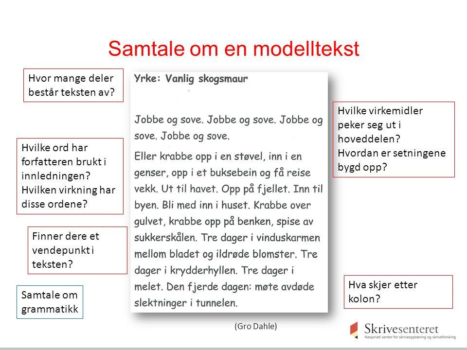 Samtale om en modelltekst Hvor mange deler består teksten av? Hvilke ord har forfatteren brukt i innledningen? Hvilken virkning har disse ordene? Hvil