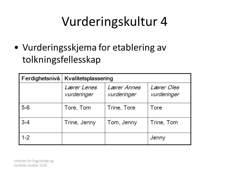Institutt for lingvistiske og nordiske studier (ILN) Vurderingskultur 4 Vurderingsskjema for etablering av tolkningsfellesskap FerdighetsnivåKvalitets
