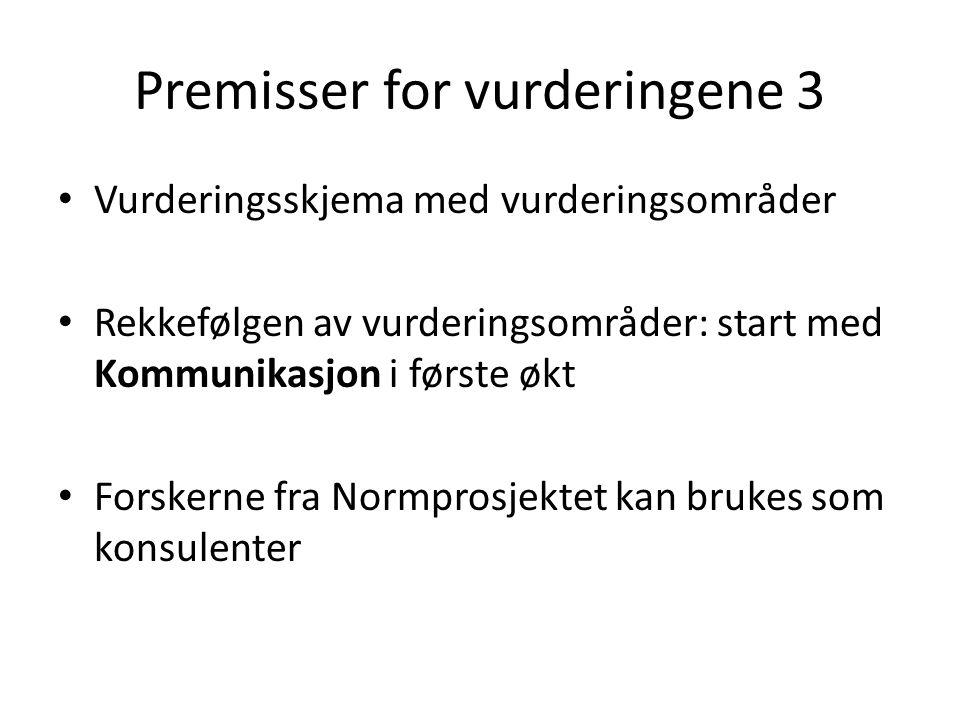 Premisser for vurderingene 3 Vurderingsskjema med vurderingsområder Rekkefølgen av vurderingsområder: start med Kommunikasjon i første økt Forskerne fra Normprosjektet kan brukes som konsulenter