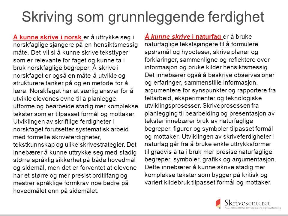 Å kunne skrive i norsk er å uttrykke seg i norskfaglige sjangere på en hensiktsmessig måte.
