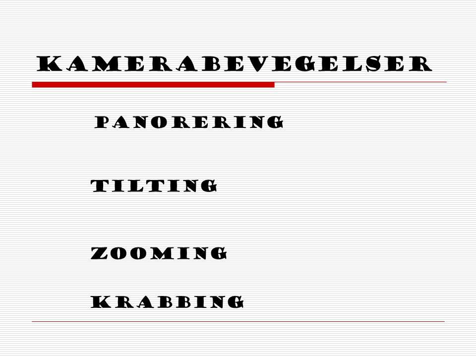 Kamerabevegelser Panorering tilting Zooming krabbing
