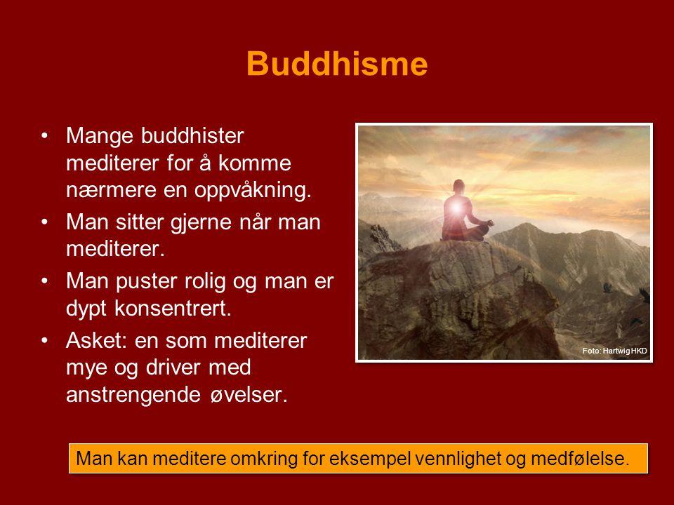 Buddhisme Mange buddhister mediterer for å komme nærmere en oppvåkning. Man sitter gjerne når man mediterer. Man puster rolig og man er dypt konsentre