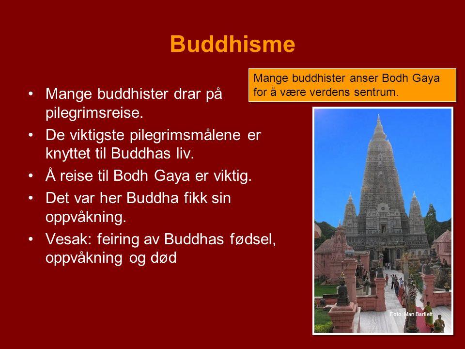Buddhisme Mange buddhister drar på pilegrimsreise. De viktigste pilegrimsmålene er knyttet til Buddhas liv. Å reise til Bodh Gaya er viktig. Det var h