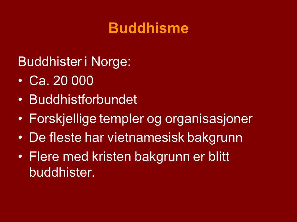 Buddhisme Buddhister i Norge: Ca. 20 000 Buddhistforbundet Forskjellige templer og organisasjoner De fleste har vietnamesisk bakgrunn Flere med kriste