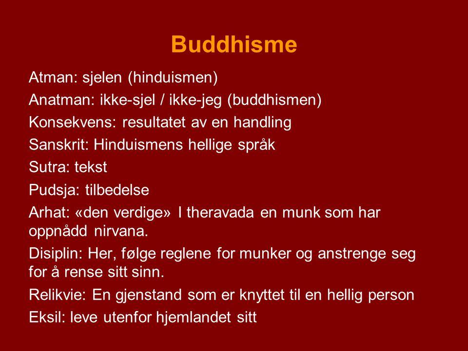 Buddhisme Atman: sjelen (hinduismen) Anatman: ikke-sjel / ikke-jeg (buddhismen) Konsekvens: resultatet av en handling Sanskrit: Hinduismens hellige sp