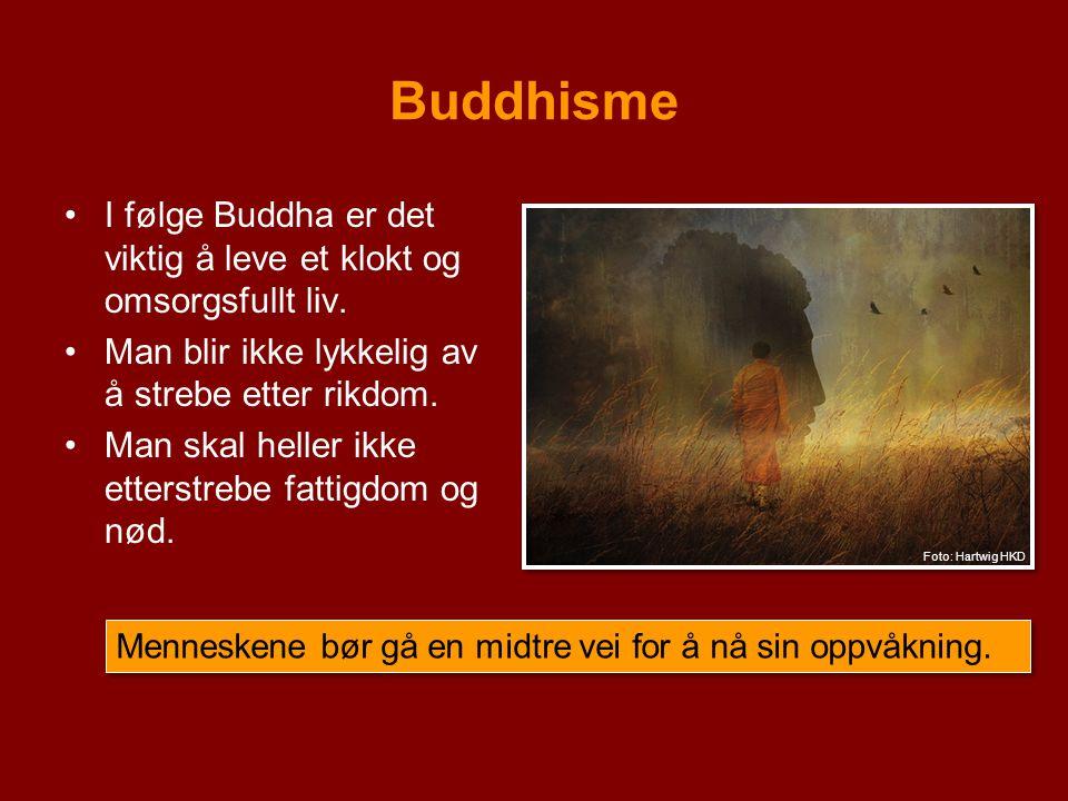 Buddhisme I følge Buddha er det viktig å leve et klokt og omsorgsfullt liv. Man blir ikke lykkelig av å strebe etter rikdom. Man skal heller ikke ette