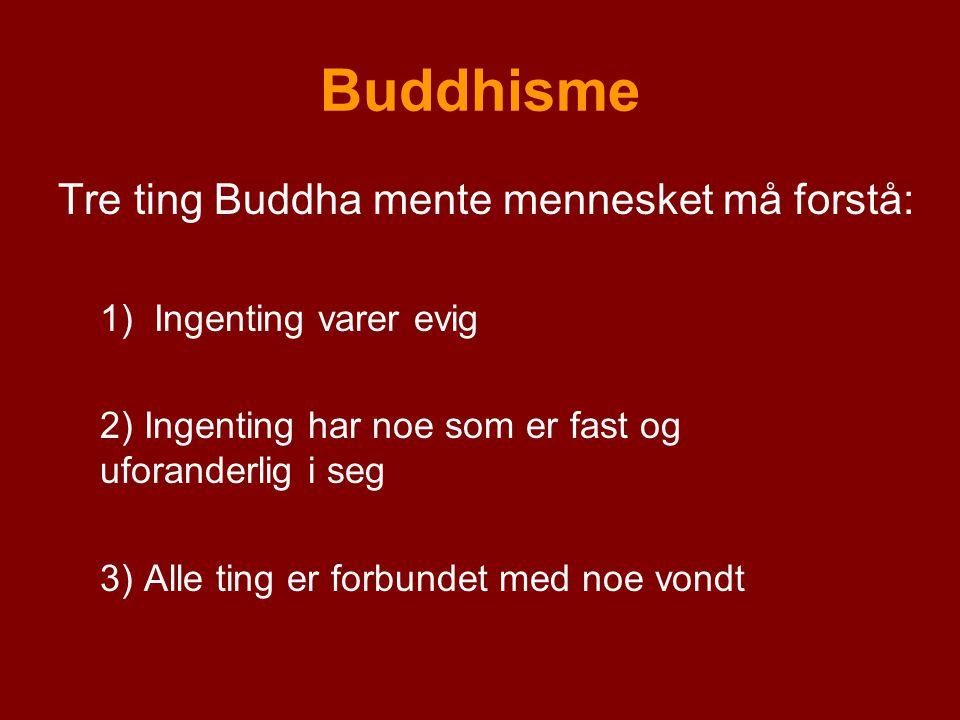 Buddhisme Tre ting Buddha mente mennesket må forstå: 1)Ingenting varer evig 2) Ingenting har noe som er fast og uforanderlig i seg 3) Alle ting er for