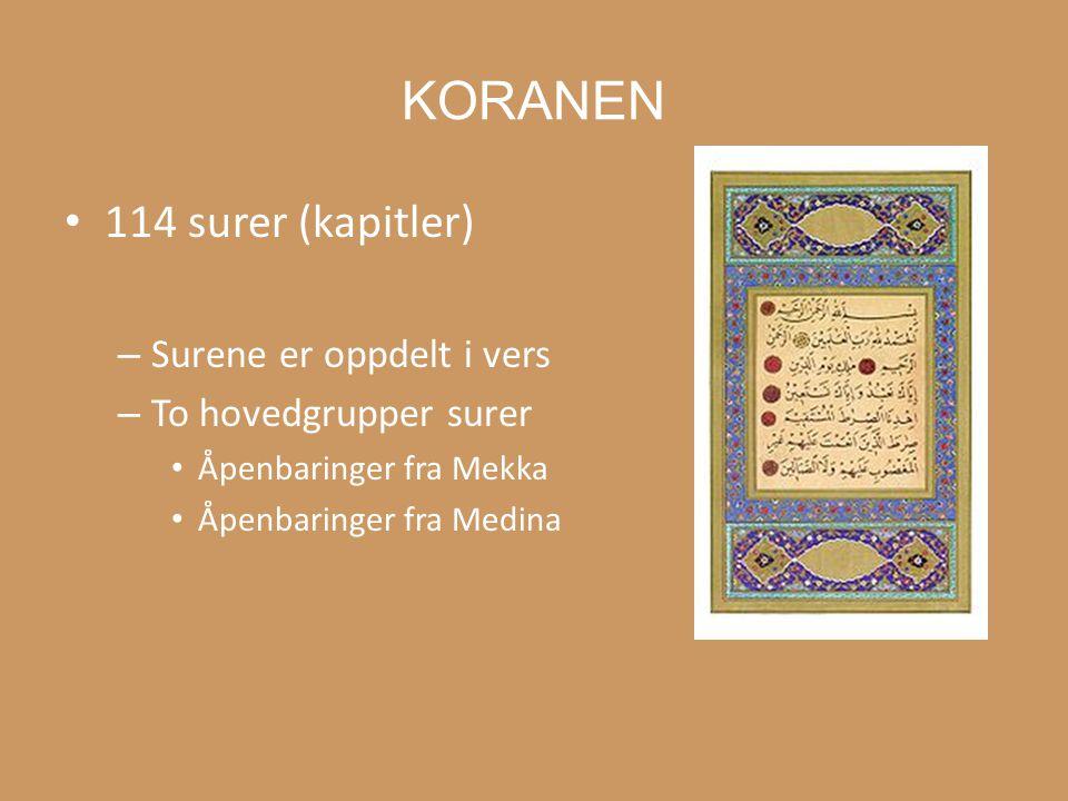 Sharia = regler for hvordan man bør oppføre seg Koranen + hadith litteraturen = sharia –Hvordan arv skal fordeles –Plikter innen en familie –Hva man kan/ikke kan spise eller drikke –Utføring av de fem søylene –Straff