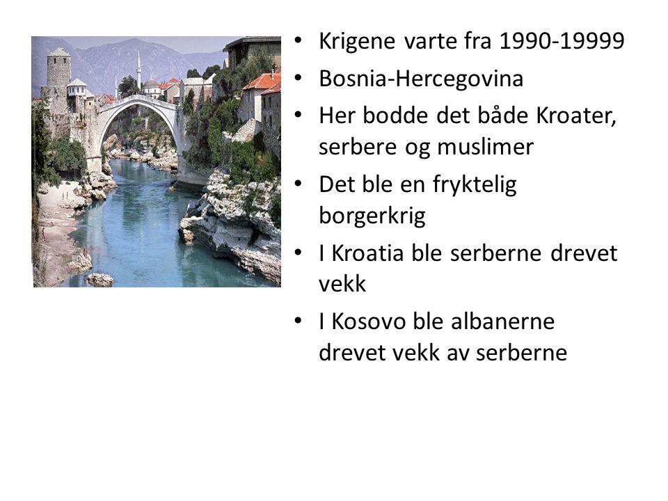 Krigene varte fra 1990-19999 Bosnia-Hercegovina Her bodde det både Kroater, serbere og muslimer Det ble en fryktelig borgerkrig I Kroatia ble serberne