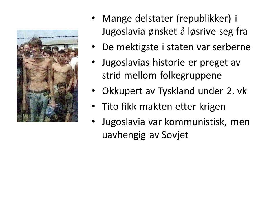 Mange delstater (republikker) i Jugoslavia ønsket å løsrive seg fra De mektigste i staten var serberne Jugoslavias historie er preget av strid mellom