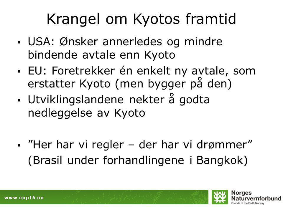 www.cop15.no Krangel om Kyotos framtid  USA: Ønsker annerledes og mindre bindende avtale enn Kyoto  EU: Foretrekker én enkelt ny avtale, som erstatter Kyoto (men bygger på den)  Utviklingslandene nekter å godta nedleggelse av Kyoto  Her har vi regler – der har vi drømmer (Brasil under forhandlingene i Bangkok)