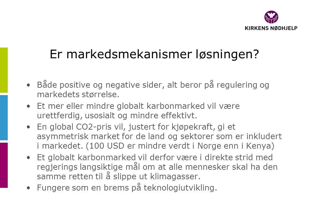 Er markedsmekanismer løsningen? Både positive og negative sider, alt beror på regulering og markedets størrelse. Et mer eller mindre globalt karbonmar