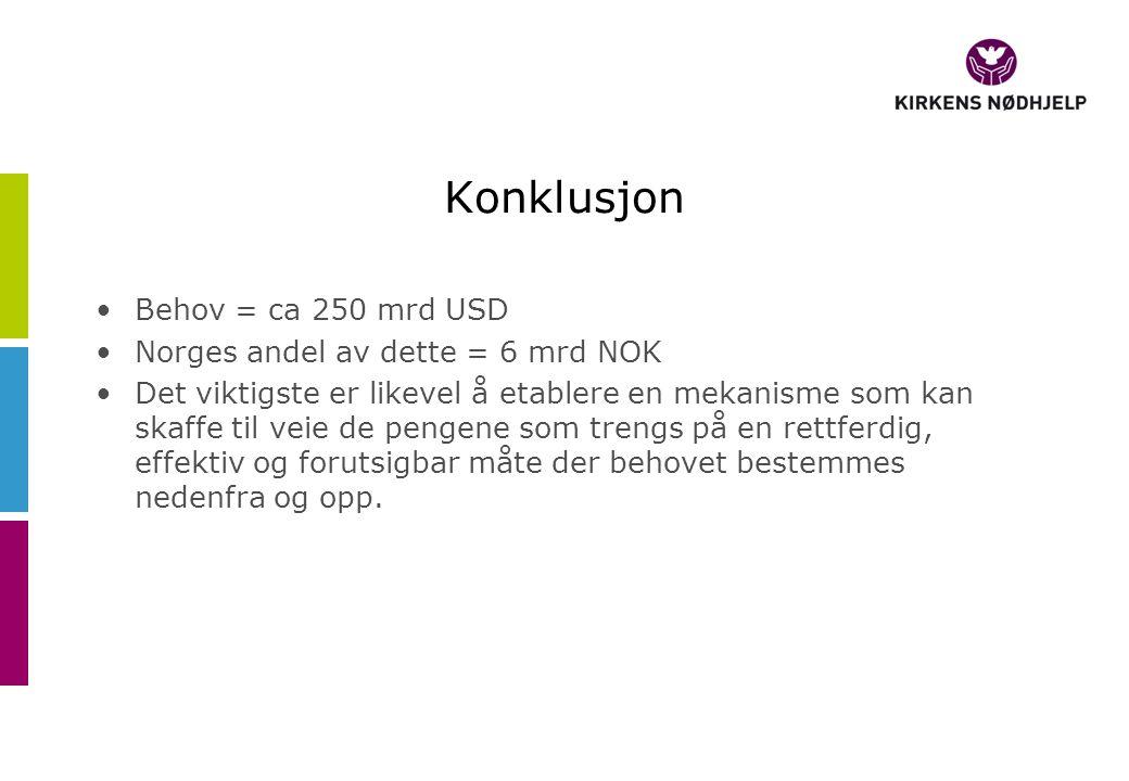 Konklusjon Behov = ca 250 mrd USD Norges andel av dette = 6 mrd NOK Det viktigste er likevel å etablere en mekanisme som kan skaffe til veie de pengene som trengs på en rettferdig, effektiv og forutsigbar måte der behovet bestemmes nedenfra og opp.