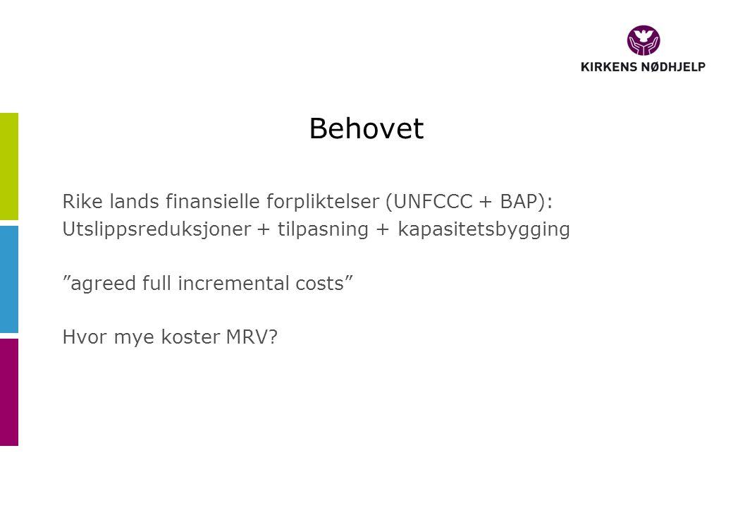 Behovet Rike lands finansielle forpliktelser (UNFCCC + BAP): Utslippsreduksjoner + tilpasning + kapasitetsbygging agreed full incremental costs Hvor mye koster MRV?