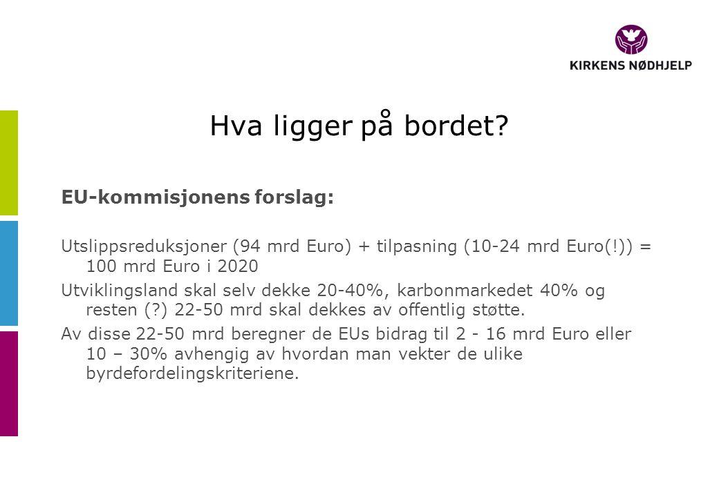 Hva ligger på bordet? EU-kommisjonens forslag: Utslippsreduksjoner (94 mrd Euro) + tilpasning (10-24 mrd Euro(!)) = 100 mrd Euro i 2020 Utviklingsland