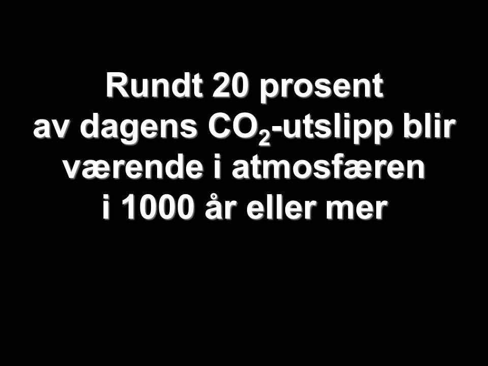 Helge Drange Geofysisk institutt Universitetet i Bergen Rundt 20 prosent av dagens CO 2 -utslipp blir værende i atmosfæren i 1000 år eller mer