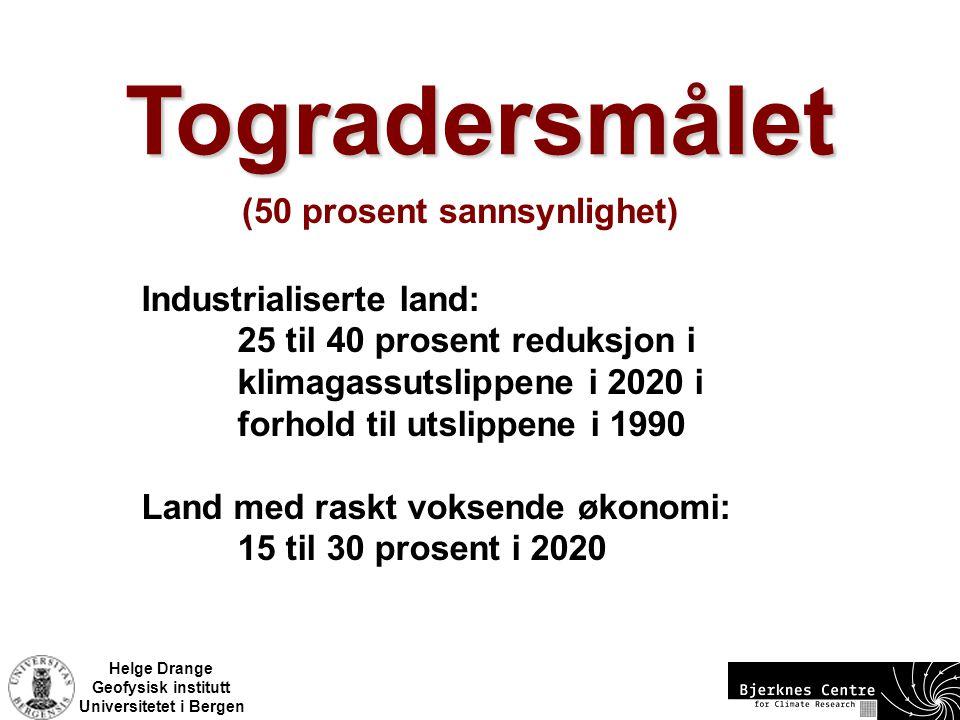 Helge Drange Geofysisk institutt Universitetet i Bergen Industrialiserte land: 25 til 40 prosent reduksjon i klimagassutslippene i 2020 i forhold til utslippene i 1990 Land med raskt voksende økonomi: 15 til 30 prosent i 2020 Togradersmålet (50 prosent sannsynlighet)
