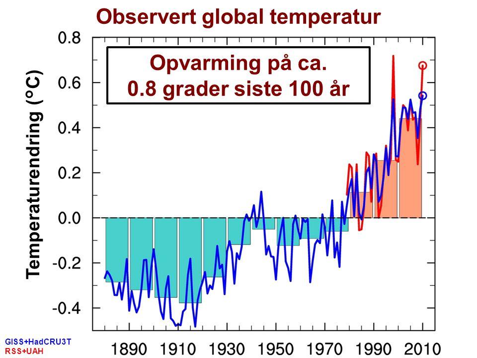 Helge Drange Geofysisk institutt Universitetet i Bergen GISS+HadCRU3T RSS+UAH Termometer Satellitt Observert global temperatur Temperaturendring (°C) Opvarming på ca.