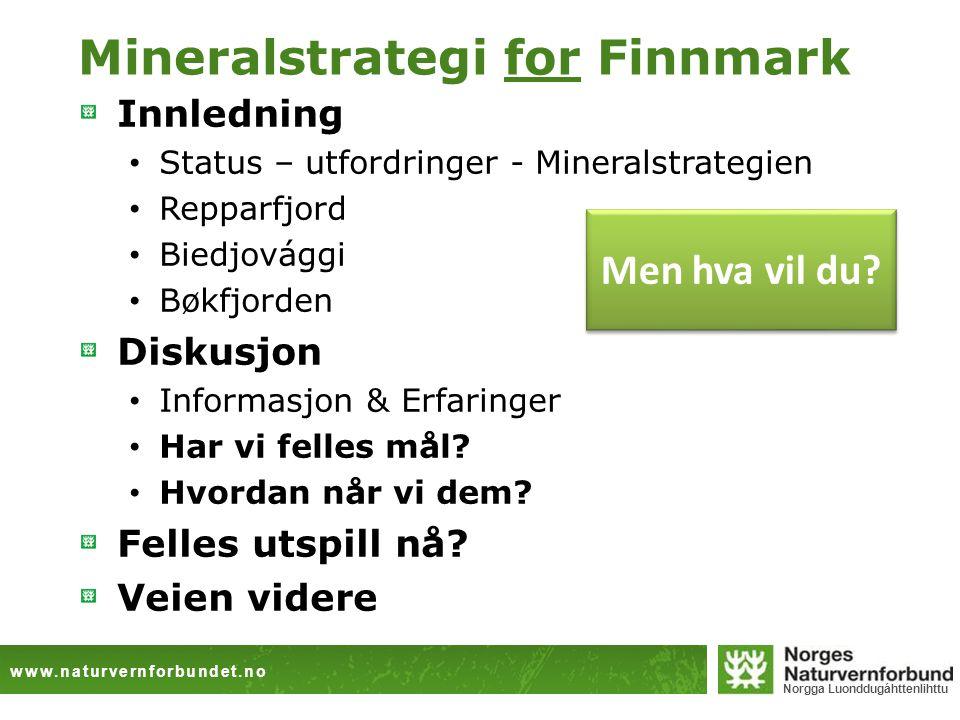 www.naturvernforbundet.no Norgga Luonddugáhttenlihttu Mineralstrategi for Finnmark Innledning Status – utfordringer - Mineralstrategien Repparfjord Bi