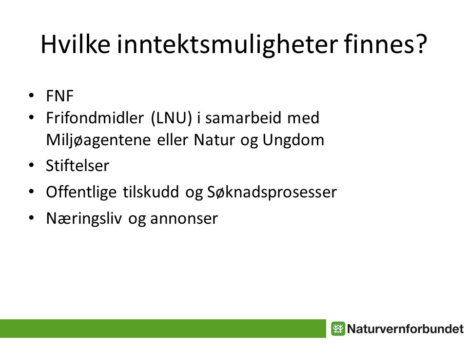 Hvilke inntektsmuligheter finnes? FNF Frifondmidler (LNU) i samarbeid med Miljøagentene eller Natur og Ungdom Stiftelser Offentlige tilskudd og Søknad