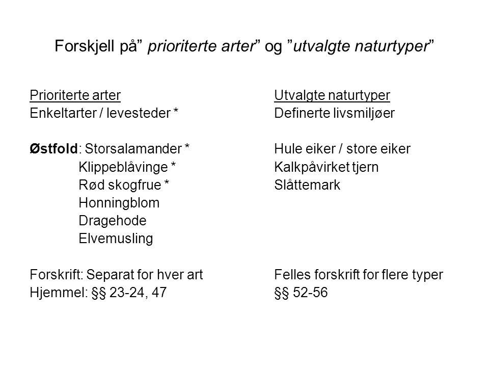 """Forskjell på"""" prioriterte arter"""" og """"utvalgte naturtyper"""" Prioriterte arterUtvalgte naturtyper Enkeltarter / levesteder *Definerte livsmiljøer Østfold"""