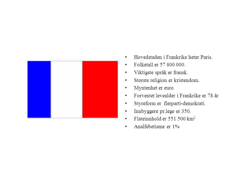 Hovedstaden i Frankrike heter Paris. Folketall er 57 800 000. Viktigste språk er fransk. Største religion er kristendom. Myntenhet er euro Forventet l