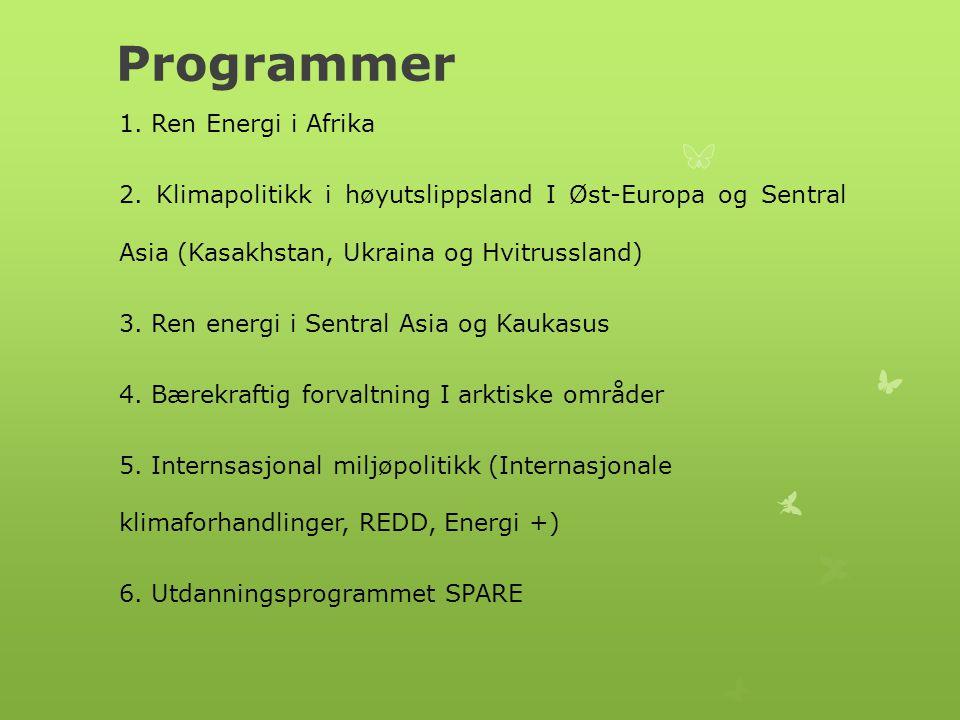 Programmer 1.Ren Energi i Afrika 2.