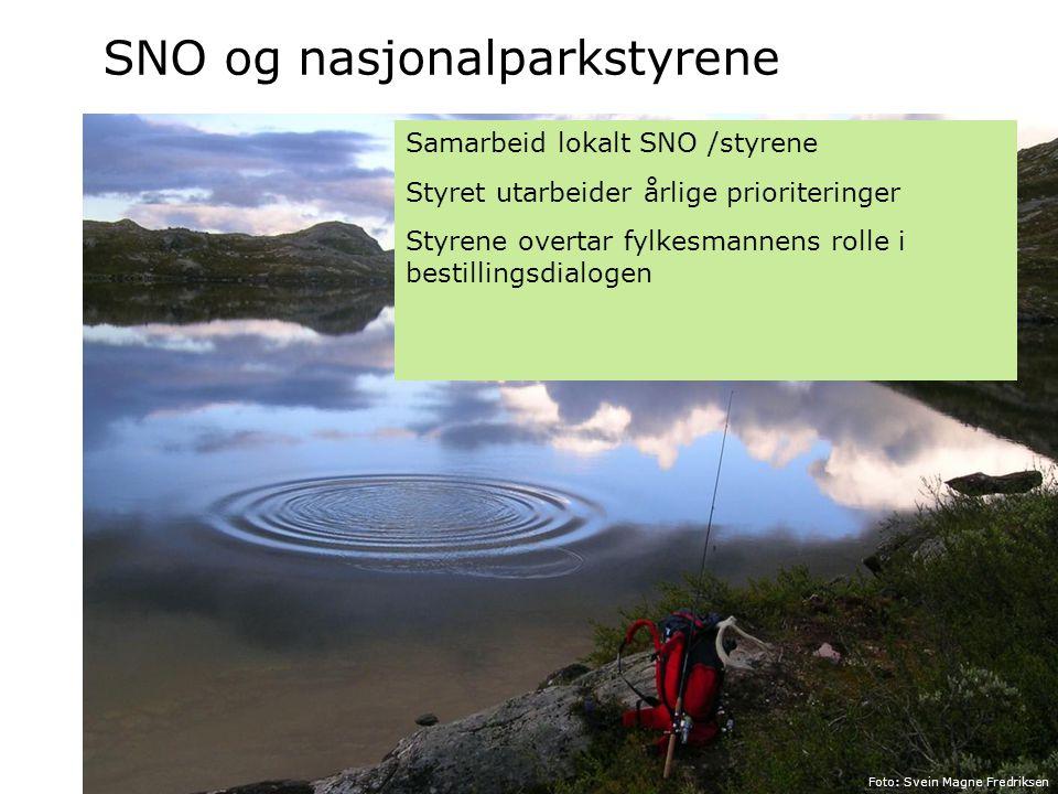 SNO og nasjonalparkstyrene Foto: Olav Gunnar Ballo Foto: Svein Magne Fredriksen Samarbeid lokalt SNO /styrene Styret utarbeider årlige prioriteringer