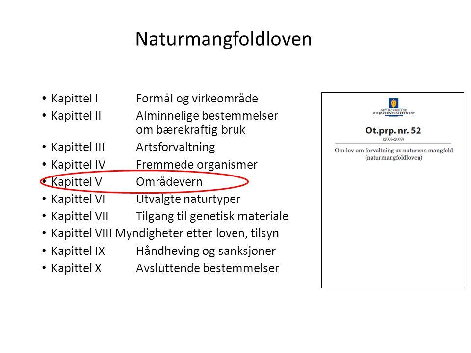 Naturmangfoldloven Kapittel I Formål og virkeområde Kapittel II Alminnelige bestemmelser om bærekraftig bruk Kapittel III Artsforvaltning Kapittel IV