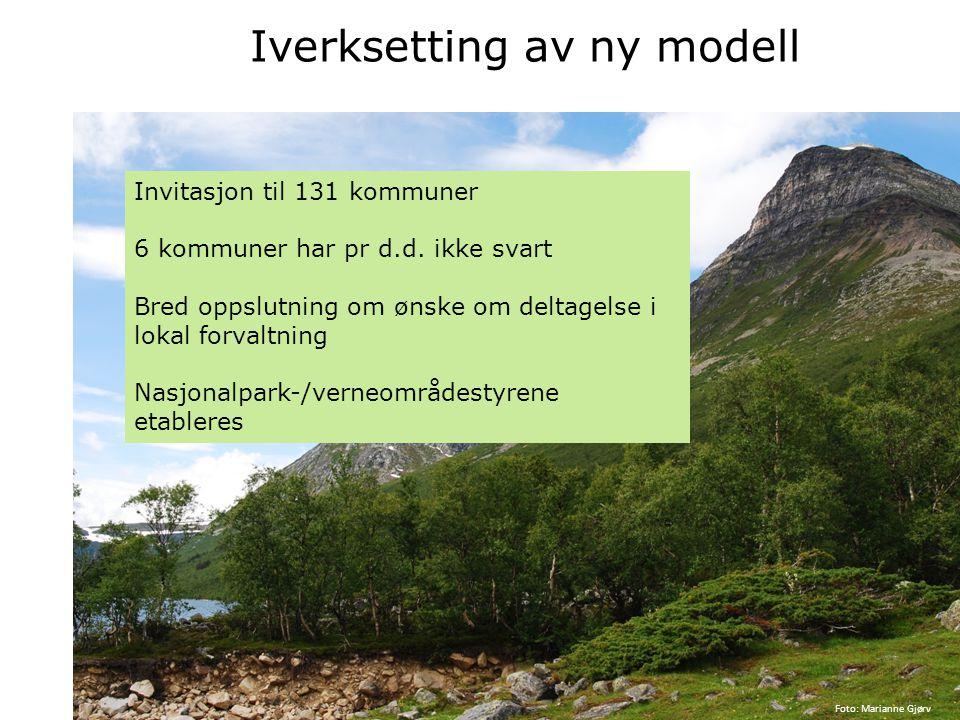 Iverksetting av ny modell Invitasjon til 131 kommuner 6 kommuner har pr d.d. ikke svart Bred oppslutning om ønske om deltagelse i lokal forvaltning Na