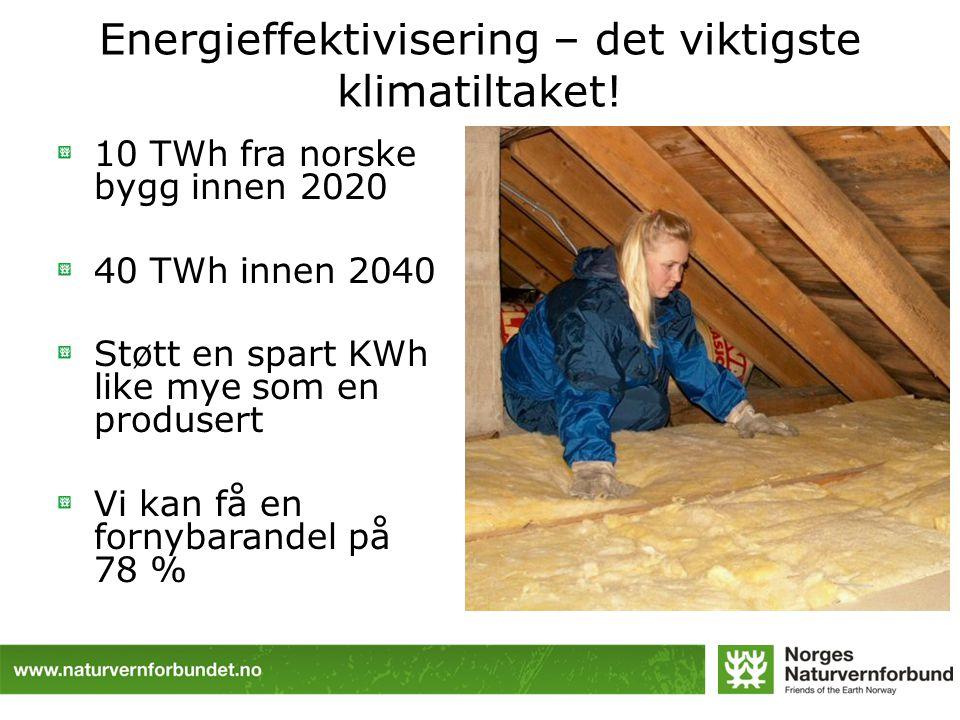 Energieffektivisering – det viktigste klimatiltaket! 10 TWh fra norske bygg innen 2020 40 TWh innen 2040 Støtt en spart KWh like mye som en produsert