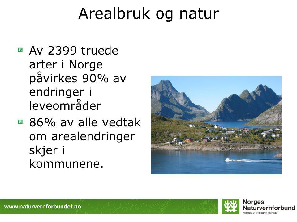 Arealbruk og natur Av 2399 truede arter i Norge påvirkes 90% av endringer i leveområder 86% av alle vedtak om arealendringer skjer i kommunene.