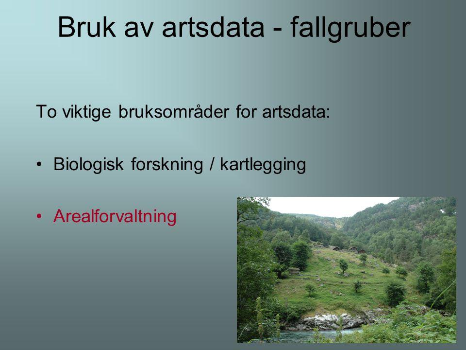 Bruk av artsdata - fallgruber To viktige bruksområder for artsdata: Biologisk forskning / kartlegging Arealforvaltning
