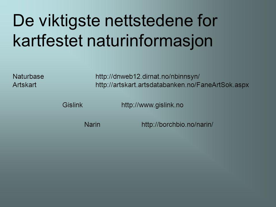 Naturbasehttp://dnweb12.dirnat.no/nbinnsyn/ Artskarthttp://artskart.artsdatabanken.no/FaneArtSok.aspx Narin http://borchbio.no/narin/ De viktigste nettstedene for kartfestet naturinformasjon Gislink http://www.gislink.no