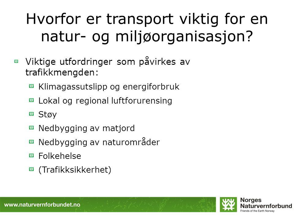 Hvorfor er transport viktig for en natur- og miljøorganisasjon? Viktige utfordringer som påvirkes av trafikkmengden: Klimagassutslipp og energiforbruk
