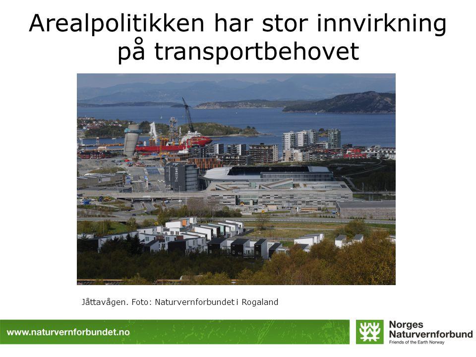 Arealpolitikken har stor innvirkning på transportbehovet Kilde: Aud Tennøy, Transportøkonomisk institutt