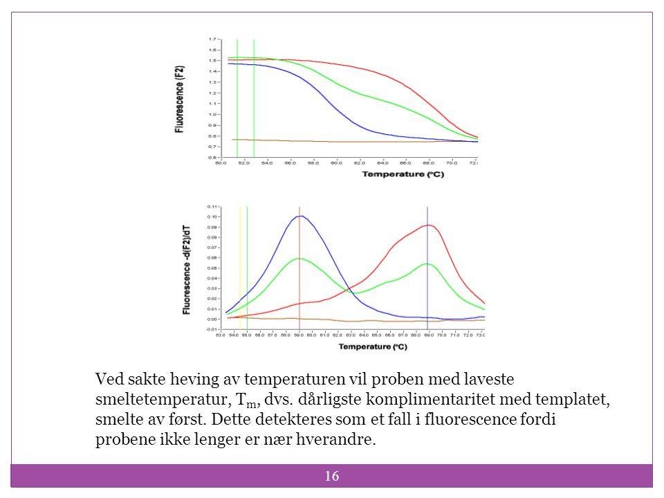 16 Ved sakte heving av temperaturen vil proben med laveste smeltetemperatur, T m, dvs. dårligste komplimentaritet med templatet, smelte av først. Dett