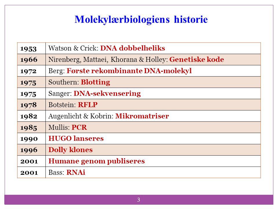 3 Molekylærbiologiens historie 1953Watson & Crick: DNA dobbelheliks 1966Nirenberg, Mattaei, Khorana & Holley: Genetiske kode 1972Berg: Første rekombin