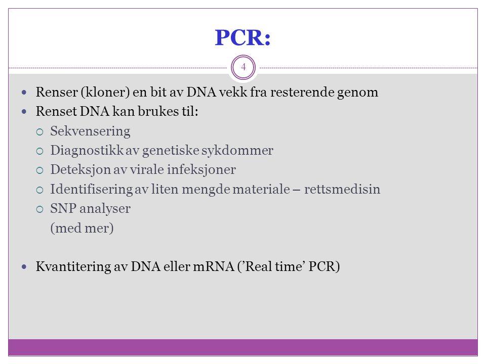 PCR: 4 Renser (kloner) en bit av DNA vekk fra resterende genom Renset DNA kan brukes til:  Sekvensering  Diagnostikk av genetiske sykdommer  Deteks