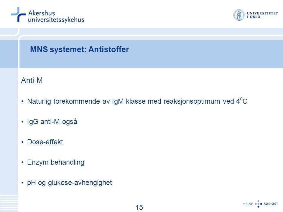 16 MNS systemet: Antistoffer Anti-M Naturlig forekommende av IgM klasse med reaksjonsoptimum ved 4 o C IgG anti-M også Dose-effekt Enzym behandling pH og glukose-avhengighet 15