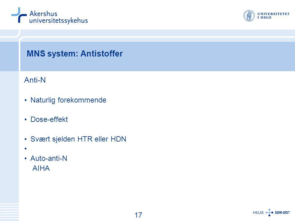 18 MNS system: Antistoffer Anti-N Naturlig forekommende Dose-effekt Svært sjelden HTR eller HDN Auto-anti-N AIHA 17