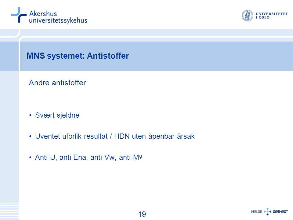 20 MNS systemet: Antistoffer Andre antistoffer Svært sjeldne Uventet uforlik resultat / HDN uten åpenbar årsak Anti-U, anti Ena, anti-Vw, anti-M g 19