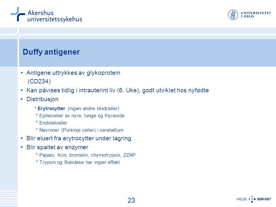 24 Duffy antigener Antigene uttrykkes av glykoprotein (CD234) Kan påvises tidlig i intrauterint liv (6.